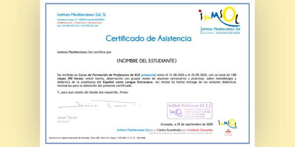 Certificado de asistencia ELE